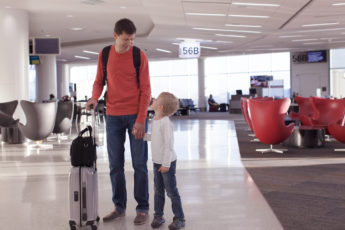 family of two ready to travel at the airport